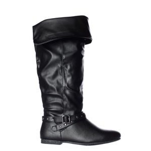 Black Fold-Over Knee High Boots